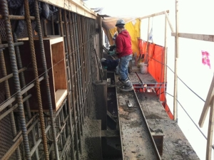 """HCM Shotcrete - Tensioned """"piano wire"""" used to layout face of wall"""